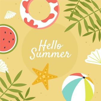 Flat hello summer illustration