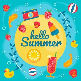 Плоский привет лето иллюстрация