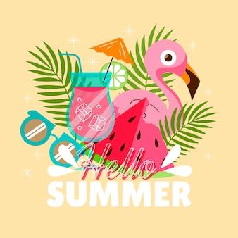 フラットこんにちは夏のイラスト