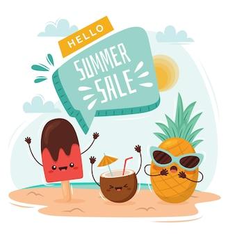 플랫 안녕하세요 여름 판매 그림