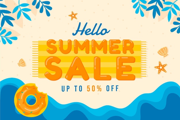 Flat hello summer sale illustration
