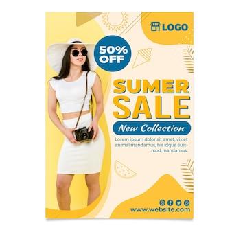 Flat hello summer sale vertical flyer template