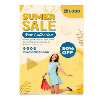 Плоский привет летняя распродажа вертикальный флаер шаблон