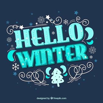 Flat hello winter background