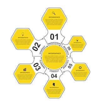 Flat hexagon options infographics.