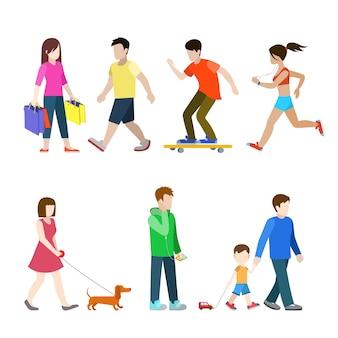 フラットで高品質な街の歩行者セット。買い物客ランナーダックスフントハウンド犬の散歩代行者お父さん息子スケートボードライダー。独自のワールドコレクションを作成します。