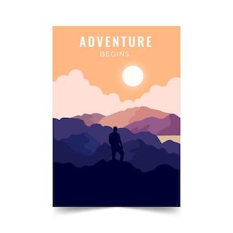 Flat hiking adventure flyer