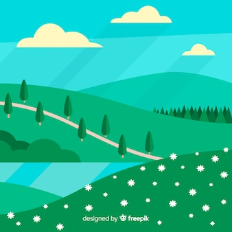 Flat hills spring background