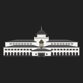 Flat historical building gedung sate