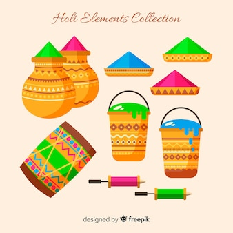 Flat holi fesival elements collection