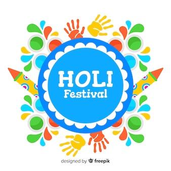 평평한 holi 축제 배경