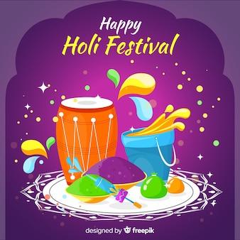 Flat holi festival background