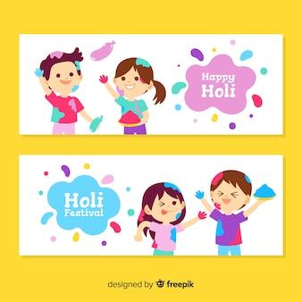 Flat holi festival banner