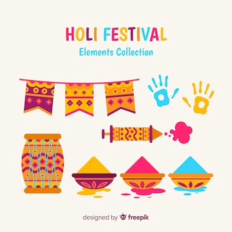 Flat holi festival element collection