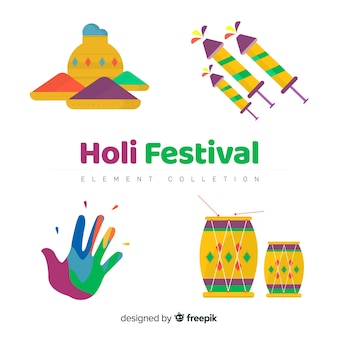 Flat holi festival elements