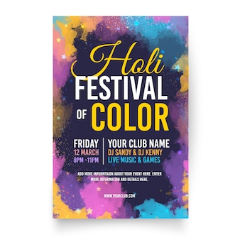 Flat holi festival flyer template