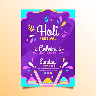 플랫 holi 축제 전단지 서식 파일