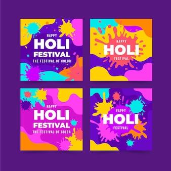 Pacchetto di post instagram flat holi festival