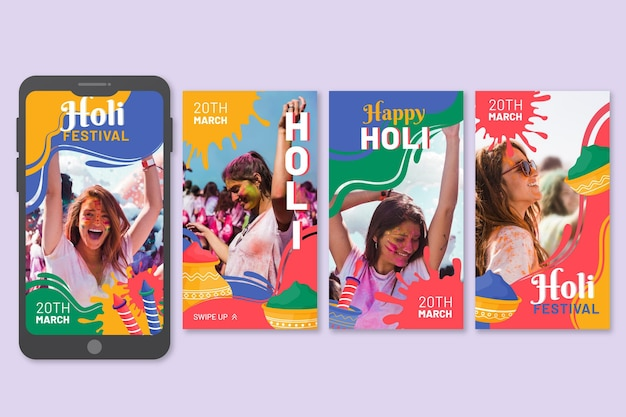 Flat holi festival instagram stories collection