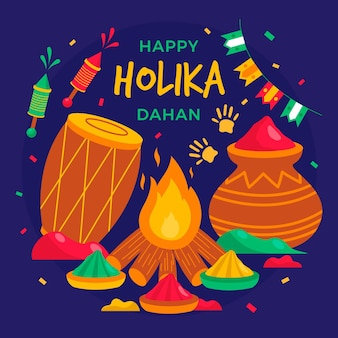 Flat holika dahan illustration