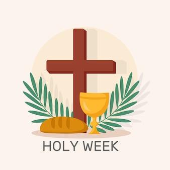 Concetto di settimana santa piatta