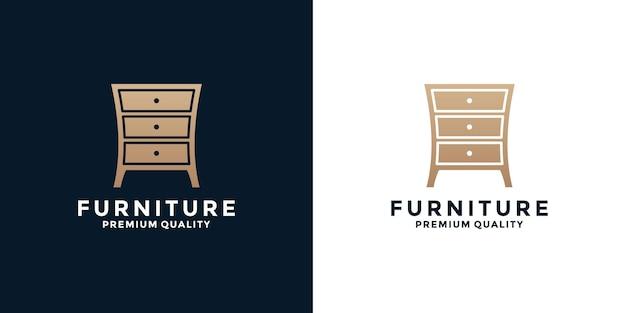 Flat home furniture logo design with golden color