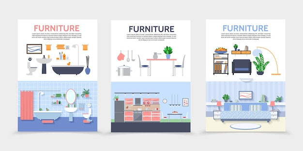 Flat home interior posters with kitchen bathroom living room furniture and accessories illustration