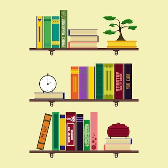 Flat home library or room bookshelves