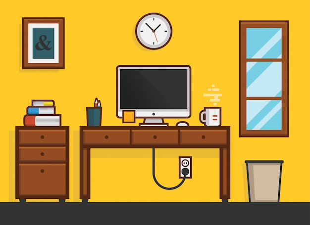 Flat home work desktop workplace