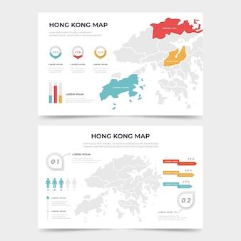 Плоская инфографика карта гонконга