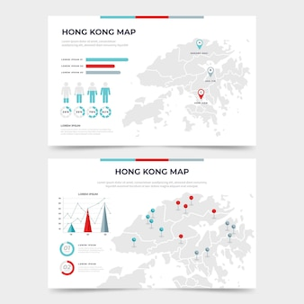 Flat hong kong map infographic