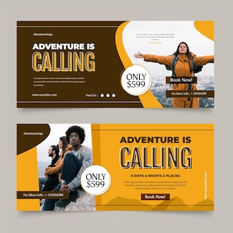 Flat horizontal adventure banners set with photo