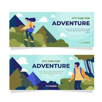 Flat horizontal adventure banners set