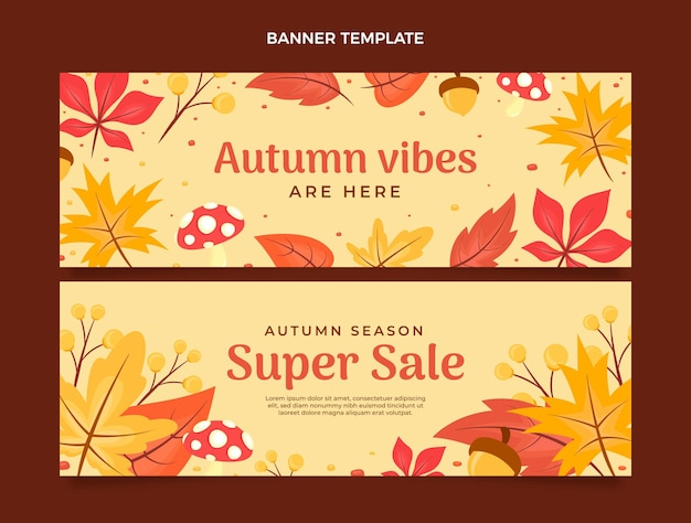 Flat horizontal autumn banners set
