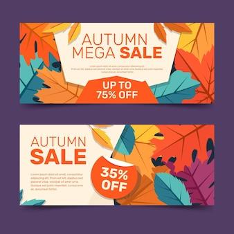 Flat horizontal autumn sale banners set