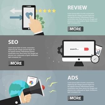 웹 사이트 및 앱에 대한 검토, seo 및 광고의 평면 수평 배너. 전자 상거래, 마케팅 및 사이트 홍보의 비즈니스 개념.