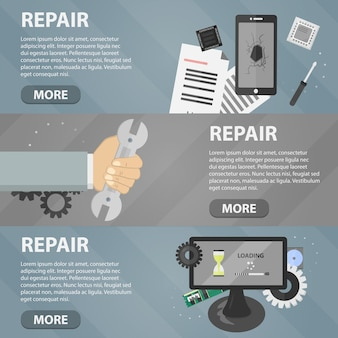 Flat horizontal banners of repair for websites. business concept of computer support service and electronic market.