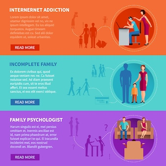 Flat horizontal banners set illustrating psychological causes of family problems vector illustration