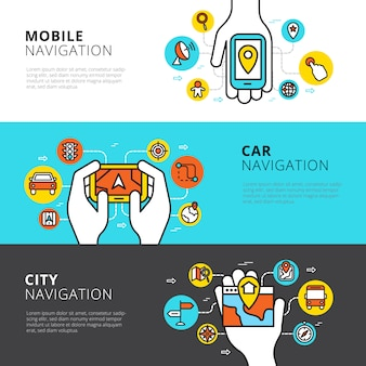 Flat horizontal  banners set of mobile car and city navigation
