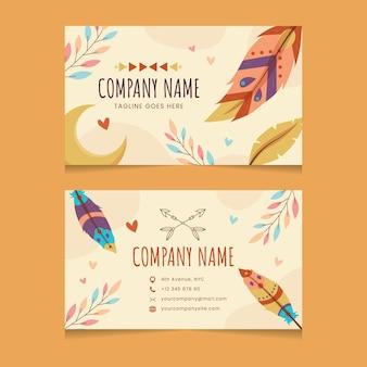Плоский горизонтальный шаблон визитной карточки в стиле бохо
