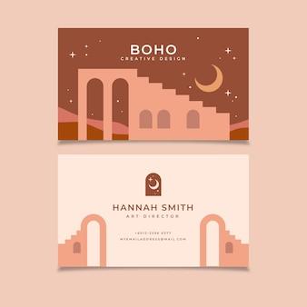 Flat horizontal boho business card template