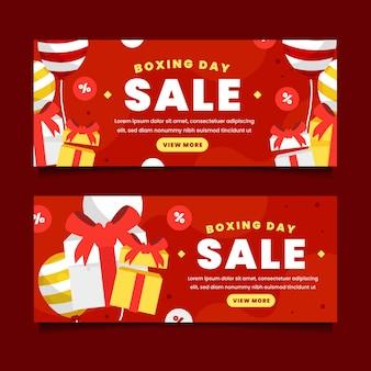 Set di banner di vendita piatto orizzontale per il giorno di santo stefano