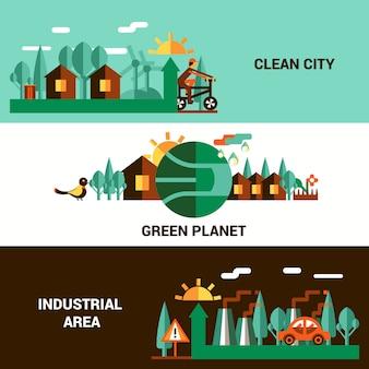 Flat horizontal ecology banners set