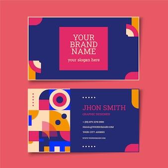 Плоская горизонтальная мозаика шаблон визитной карточки