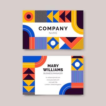 Flat horizontal mosaic business card template
