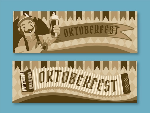 Flat horizontal oktoberfest banners set