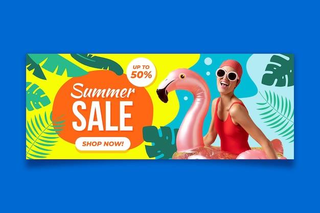 Modello di banner di vendita orizzontale piatto con foto