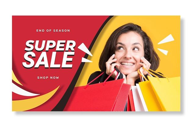 Modello di banner di vendita orizzontale piatto