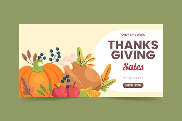 Banner di vendita del ringraziamento orizzontale piatto