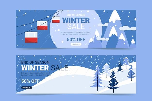 Плоские горизонтальные зимние распродажи баннеры с канатной дорогой и горами